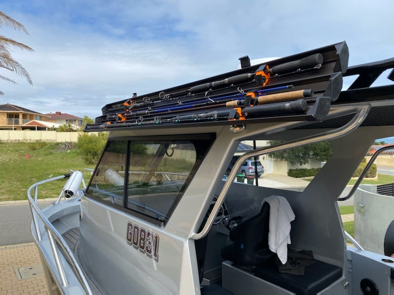 SCUTE fishing rod cases are ideal for fishing rod storage on a boat